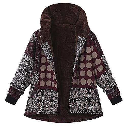 Große Größe Damen Fluffy Warm Outwear MYMYG Blumendruck mit Kapuze Taschen Vintage Oversize Coats Reißverschluss Plüsch Retro Pflanzen drucken Lässige ()