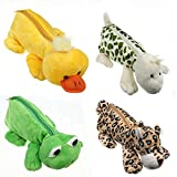#10: Soft Plush made Animal Figure Pen Pencil Zipper Pouch for kids Stationary, Makeup, Travel Case Set of 4