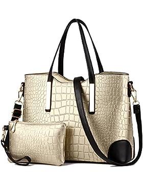 EssVita Tasche Damen Elegant Leder Handtaschen Set Schulter Beuteltote Schultaschen
