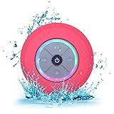 Elitehood Bluetooth Lautsprecher Dusche Mini Kabelloser Lautsprecher Wasserdicht Spritzwassergeschuetzt Tragbare FM Radio Integriertes Mikrofon Freisprecheinrichtung mit Saugnapf (Pink)