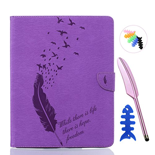 ANNN® iPad 2/3/4 Solide Drucken(Dayan Feather) PU Leder Flip Wallet Schutzhülle mit Vogel Magnetverschluss - Bookstyle Hülle mit Standfunktion und Kartenfach als stabiler Schutz--B07