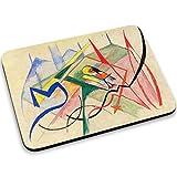 Franz Marc - Small Mythical Creatures, Designer Mousepad Unterlage Mauspad Maus-Pad Stark Anti Rutsch Unterseite für Optimalen Halt mit Lebhaftes Motiv Kompatibel mit Apple Magic Maus. Ideal für Gamer und für Grafikdesigner