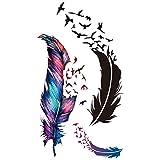 Bluelans® Womens Beautiful Bird & Feather Temporary Tattoos Stickers Body Art Waterproof
