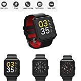 Parnerme Fitness Tracker HR, [Upgrade Version] Bluetooth Activity Tracker IP67 Waterproof Pedometer Calorie Distance Tracker Blood Pressure Heart Rate Monitor Call SNS Remind for Men Women Kids IPhone Android (black-red)