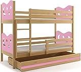 Interbeds Etagenbett Miko 200x90cm Farbe: Kiefer mit Matratzen, Lattenroste und Schubalde (ROSA)