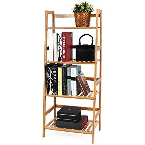 HOMFA Bambus Standregal 4 Ablage Bücherregal Badregal Blumenregal Küchenregal feuchtigkeitsbeständig Gartenregal 116x48x32cm