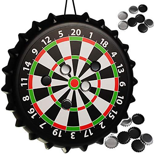 alles-meine.de GmbH Magnetspiel Dart - incl. 8 Kronkorken als Dartpfeile - OHNE Spitze - für Erwachsene - Männer Trinkspiel Partyspiel - Magnetdart - drinnen und draußen Spiel - ..