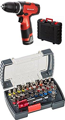 Einhell Akku Bohrschrauber TH-CD 12-2 Li (Lithium Ionen, 12 V, 1,3 Ah, 2 Gang, 24 Nm, Ladegerät, Koffer) + kwb PowerBox Bitset mit Bithalter (32-teilig, 1/4 Zoll Sechskantschaft)