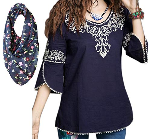 Triumphin Women's Cold Shoulder Embroidered Cotton Rayon Top (Blue, TRAMT0031_XL)