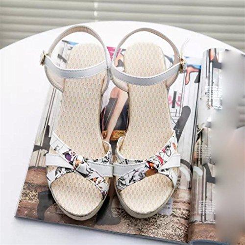 Malloom® Sandalen, Frauen Damen Sommer Böhmen runde Zehe Outdoor Sandalen High Heels Schuhe Weiß