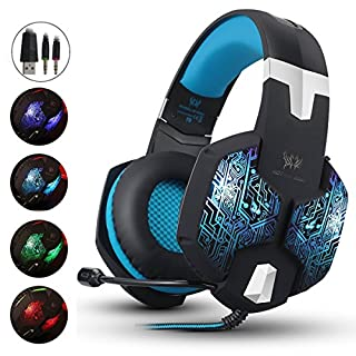 Gaming Headset for Xbox One PC PS4, Headphones with Microphone LED Light Noise Canceling Over Ear (Adapter Not Include) (Blue)