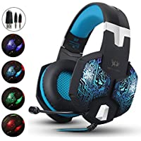 AIZBO® Gaming Headset LED Over-Ear Headphone Stereo Headset with Mic,USB & 3.5mm for PC Computer Laptop (Blue)