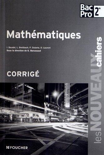Les Nouveaux Cahiers Mathématiques Sde Bac Pro Corrigé