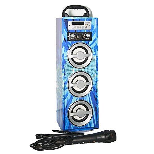 Karaoke DigiVolt HIFI-21 by MovilCom   altavoz bluetooth reproductor mp3 reproductor multimedia USB Micrófono Radio FM Entrada AUX Mando Bola