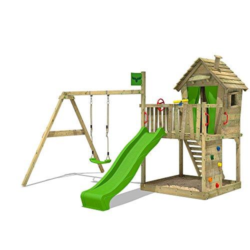 FATMOOSE DonkeyDome Double XXL Spielturm Kletterturm Baumhaus mit Schaukel Rutsche (Rutschenfarbe: Hellgrün)