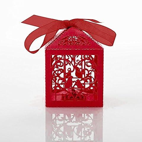 Higawin 50st Hollow Geliebte Voegel Hochzeit Dekoration Suessigkeiten Box Hochzeit Gastgeschenk Geschenke Box schachtel hochzeit Rot