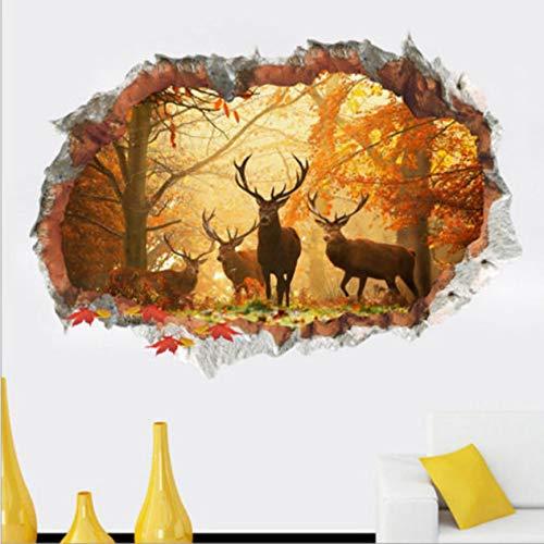 Weihnachten Deer 3D Wandaufkleber Baby Kinderzimmer Wandtattoo Vinyl Aufkleber Elch Hirsche Wald Jagd Hörner Tier 1pic / set (Elch-jagd-dekor)