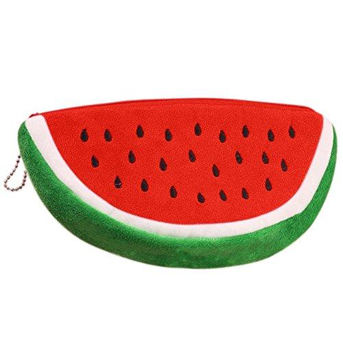 Hosaire 1x Federmäppchen Kosmetik Aufbewahrungs Tasche Mode Kreative Wassermelone Modellieren Design Damen Make up Bag Plüsch Bleistifte Stifte Tasche Mäppchen Pencil Case (Kreative Wassermelone)