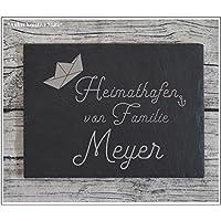 Haustürschild versch. Größen Namensschild Türschild Familie Schiefer Gravur