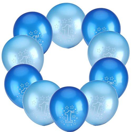 Luftballons Balloons Partydeko Geburtstag Jahrestag Geburtstagsdeko für 1st / 2nd Baby Shower Party 10 Pcs(1st Blau & Hellblau)