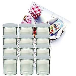 12er Set Sturzglas 350 ml Marmeladenglas Einmachglas Einweckglas To 82 weißer Deckel incl. Diamant-Zucker Gelierzauber Rezeptheft