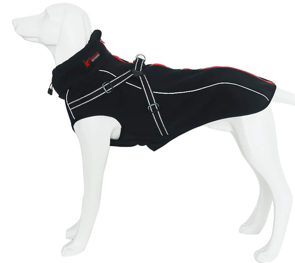 Dog Jacket with Harness, Windproof Dog Vest with Reflective Strips for Medium Large Dogs, Warm and Cozy Dog Sport Vest, Dog Winter Coat, Warm Dog Apparel with High Neckline Collar 1