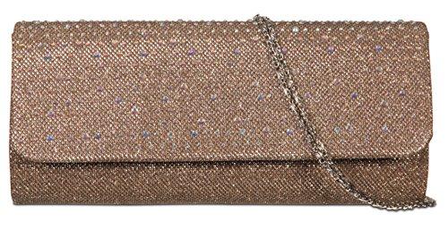 Girly HandBags Satin Gewebt Clutch Tasche Diamanten Bronze