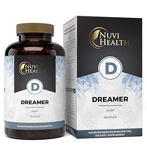 Nuvi Health® Dreamer - Schlaf & Regeneration Komplex - Mit 5-HTP, L-Tryptophan, GABA, Hopfen, Melissen - Natürliche Einschlafhilfe - 120 Kapseln - Hochdosiert - Vegan - Pflanzlich - Laborgeprüft