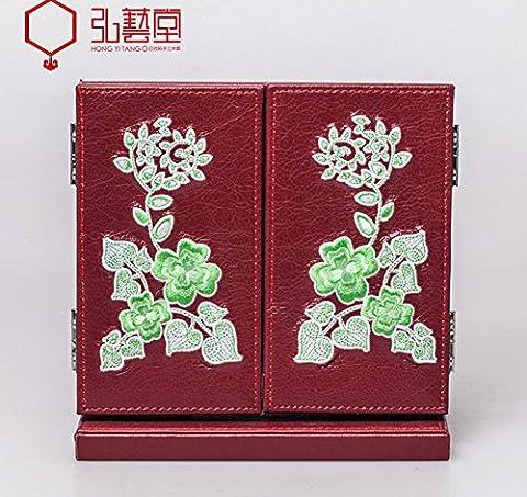 Meylee Mode miroir de maquillage en cuir Tri-Fold Vanity Table comptoir réglable pliante portable miroir Home décoration pour Make Up , red
