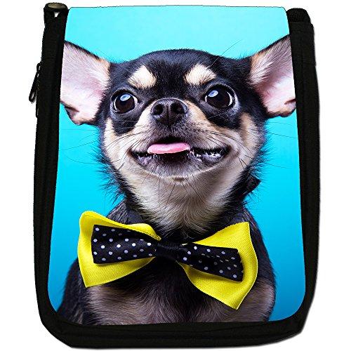 Chihuahua messicano taco Bell cane medio nero borsa in tela, taglia M Chihuahua Wears Yellow Bow Tie