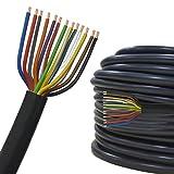 Câble multiconducteur pour l'automobile / remorque 5m, 10m, 20m ou 50m choix: (5m mètre, 13 fils: 13 x 1.5 mm² câble cylindrique)...