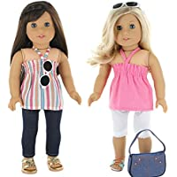 "5 Pc. Casual Everyday Outfit Set Fits 18"" American Girl Doll Clothes Includes- Pants, x2 Tops, headband, and Pocketbook!!!!"