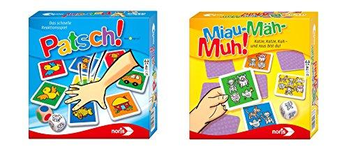 Noris Spiele 606011793 Bundle Patsch und Miau Mäh Muh Kinderspiel