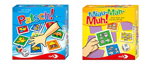 Noris 606011793 Bundle Patsch und Miau Mäh Muh Kinderspiel