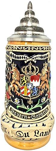 Pinnacle Bayern Bavaria Coat of Arms Relief LE German Beer Stein .5 L Made in Germany -