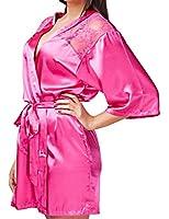 24brands Damen Nachtwäsche Morgenmantel Kimono mit Spitze Negligee - 1816