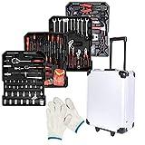 FROADP Werkzeugkoffer gefüllt 849-teiliger - Abnehmbar Aluminium Rollkoffer - inkl. vielseitigem Zubehör und Arbeitshandschuhen