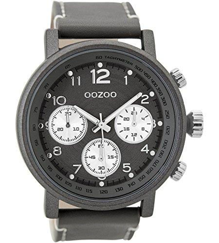 Oozoo Herrenuhr mit Lederband 48 MM Dunkelgrau/Dunkelgrau C9458