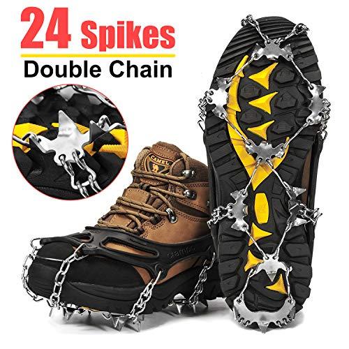 Wirezoll Steigeisen, Schuhe Spike mit 19 Edelstahl Zähne und Silikon Band Anti Rutsch auf EIS und Schnee für Wandern Bergschuhe Stiefel usw. (Schwarz, L)