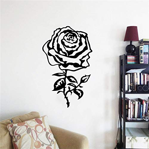 WWYJN Beautiful Floral Wall Art Rose Vinyl Wall Sticker Modern Design Rose Wall Painting Family Removable Poster Black 35x57cm