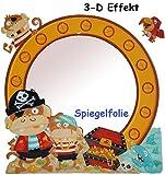 3-D Effekt _ Kinder Spiegel / Wandspiegel mit Spiegelfolie - ' Piraten & Piratenschiff ' - selbstklebend & wiederverwendbar - als Wandsticker / Wandtattoo - Pop Up - Kinderzimmer - die Wand - Baby / Babyspiegel - Spiegelaufkleber - Jungen - Kinderzimmerspiegel - Figur / Kinderspiegel - Baby-Spiegel / Fliesenspiegel - Pirat Schatztruhe - Wandbild