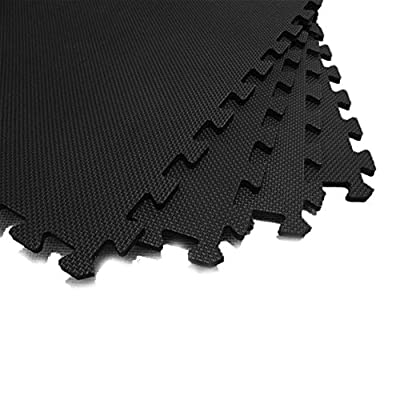 JSG Accessories® Outdoor/Indoor Protective Flooring Mats -9 pcs interlocking children`s soft foam eva play mats suitable for Gym, Play Area, Exercise, Yoga in BLACK 9-108 tiles ( 9-108sqft)