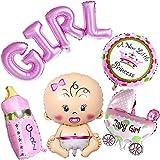Ouinne 5 Stück Heliumballon Baby Folienballon Babyshower Babyparty Party und Dekoration (Mädchen)