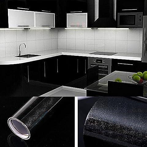 5×0,61M Noir Papier Peint Autocollant Rouleau Adhésif Sticker Mural Etanche pour Armoire Cuisine Meuble Electroménager Carreaux Mur Verre en PVC