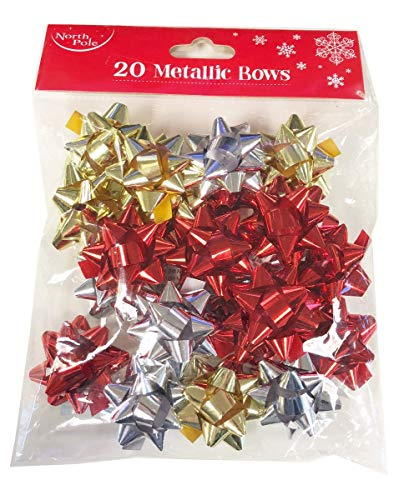 Christmas Gift Bows Big 20-RPN-Red Silver Gold Foil+Free Dots