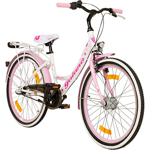 Galano 24 Zoll Mädchenrad Jugendrad Cityrad Mädchenfahrrad, Farbe:weiss/rosa