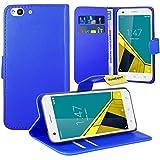 Vodafone Smart Ultra 6 Handy Tasche, FoneExpert® Wallet Case Flip Cover Hüllen Etui Ledertasche Lederhülle Premium Schutzhülle für Vodafone Smart Ultra 6 (Blau)