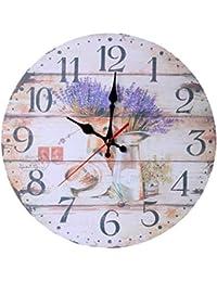 Vosarea Reloj de Pared de Madera Vintage país rústico Reloj para Cocina hogar de Oficina