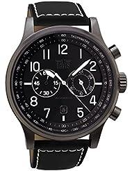 Davis 1860 - Reloj de hombre Aviador 42mm, cronógrafo sumergible 50M, con correa de piel, con pespunte, color Negro