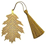 Art & Craft Christmas Leaf Design, Metal Bookmark with Tassel,Pendant Charm, School Supplies Page Holder Charm - Golden Color